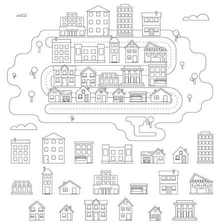 city icon: Real Estate City Building House Street Linear Icons Constructor Set Isolated Graphic Template Stock Vector Illustration