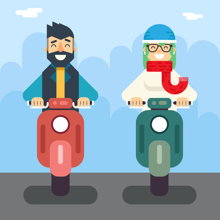dating: Male Female Hipster Happy Smiling Character Retro Scooter Lifestyle Icon Ride Driving Symbol Flat Element Vector Illustration Illustration