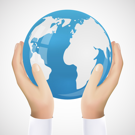 hand holding: Realistic Hand Holding Earth Icon Vector Illustration