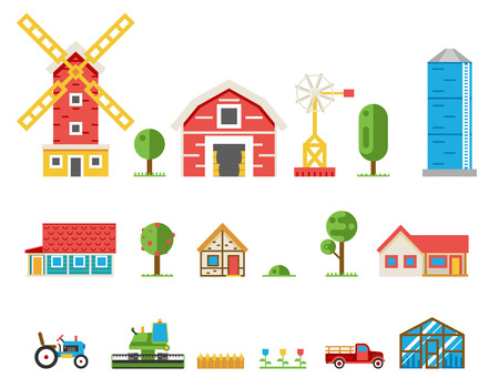cereales: Edificios casas rurales tractor combinar iconos vectoriales de recogida aislados conjunto ilustración vectorial