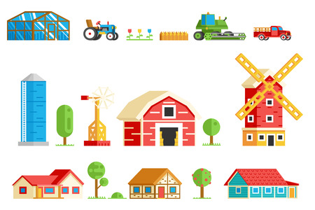 tractor in field: Farm Village Rural Buildings Machinery Trees Vector Icons Set Vector Illustration