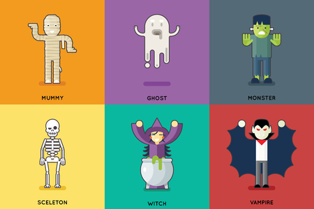 mummy: Halloween Party Roles Characters Icons Set Stylish Background Flat Design Greeting Card Vector Illustration