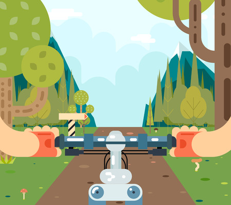 race: Bicycle Steering Wheel Riding Forest Tourism and Journey Symbol Travel Concept on Stylish Mountain Road Background Flat Design Vector Illustration Illustration