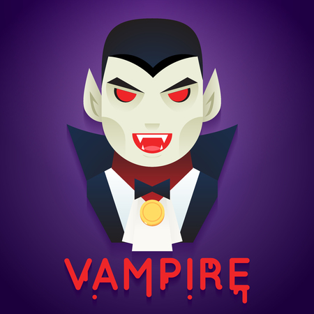 Halloween Party Vampire Role Character Bust Icons Stylish Background Flat Design Greeting Card Vector Illustration Иллюстрация