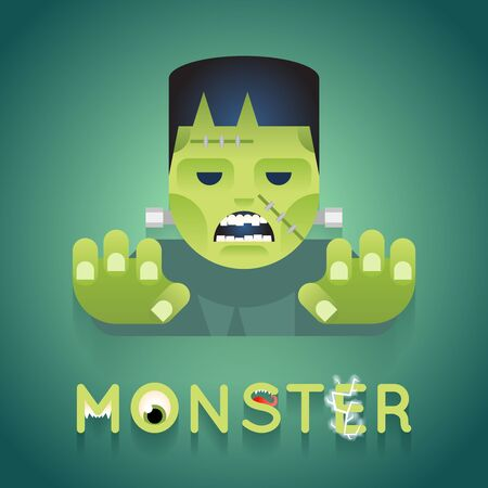 Halloween Party Monster Role Character Bust Icons Stylish Background Flat Design Greeting Card Vector Illustration Illustration