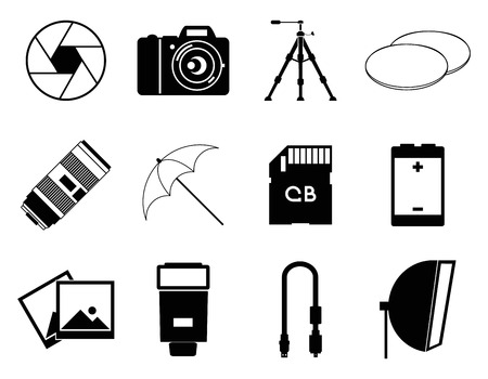 photo icons: photo icons accessories camera set vector illustration