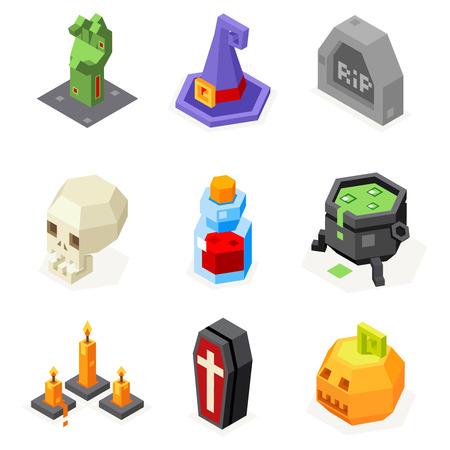 elixir: Iconos de Halloween Set calabaza sombrero de la bruja Caldero Tumba mano del zombi Elixir cráneo del vampiro Ataúd Night Party Trick Treat Piso Diseño isométrico ilustración vectorial 3d