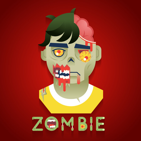 role: Halloween Party Zombie Role Character Bust Icons Stylish Background Flat Design Greeting Card Vector Illustration