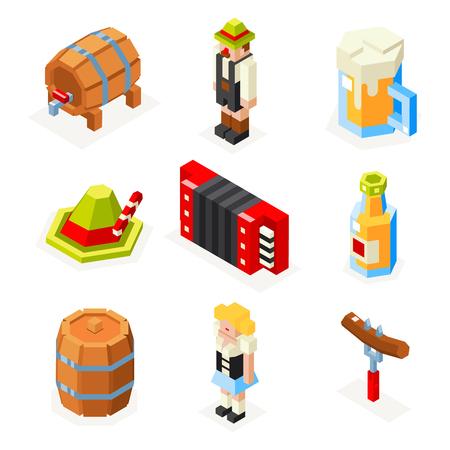 keg: oktoberfest isometric 3d polygon icons set beer keg man woman accordion cap sausage fork glass  vector illustration