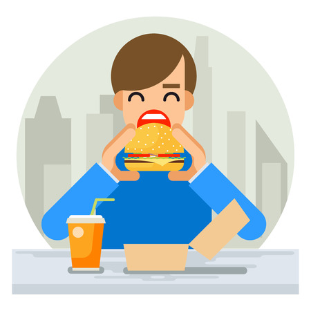 hungry: Happy Man Eating Hamburger Sandwich Icon Fast Food Flat Design Vector Illustration Illustration