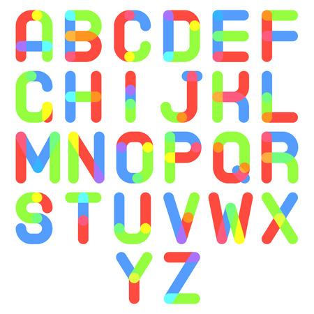 write abc: Round Font Alphabet A to Z Minimal Font Symbol Icon Vector Illustration Illustration