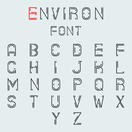 papier lettre: Simple Line R�sum� Retro Alphabet AZ Minimal police Symbole ic�ne vecteur Illustration