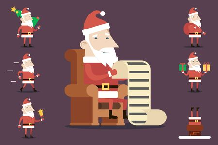klaus: Santa Claus Cartoon Characters Set Poses Emotions Accessories Tree Bell Gifts List Christmas New Year Icons Stylish Background Flat Design Vector Illustration