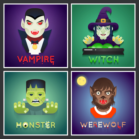 hag: Halloween Party Monster Role Character Bust Icons Set Stylish Background Flat Design Greeting Card Vector Illustration Illustration