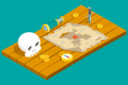 pirata: Isométrico del tesoro del pirata Aventura Juego de rol Mapa Acción cuchillo daga Tabla Spyglass cráneo Brújula Icono de madera de fondo Ilustración Concepto plana diseño vectorial