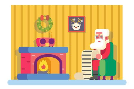 christmas room: New Year Santa Claus Fireplace Armchair Hold Children Gift List Room Christmas Icon Greeting Card Flat Design Vector Illustration