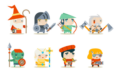 female warrior: Fantasy RPG Game Character Vector Icons Set