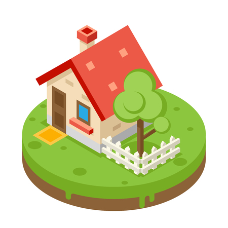 background house: House Building Private Property Tree Icon Real Estate Meadow Background Flat Design Vector Illustration