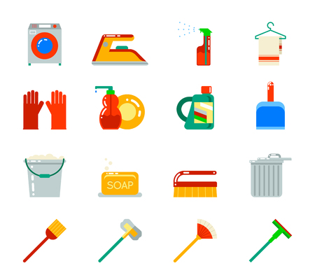 besom: Household Cleaning Symbols Accessories Icons Set Design  Illustration