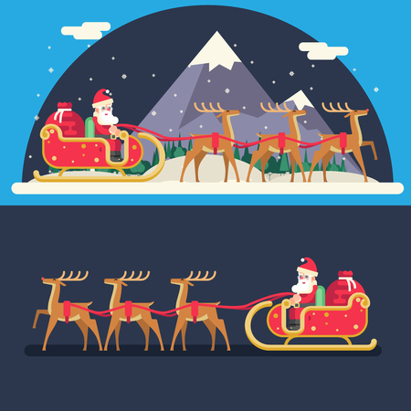 santa and sleigh: Santa Claus Sleigh Reindeer Gifts Winter Snow Landscape New Year Christmas Night Background Flat Icon Template Illustration