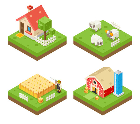 cartoon land: Farm Life isometric 3d Icon Real Estate Symbol Meadow Background Flat Vector Illustration