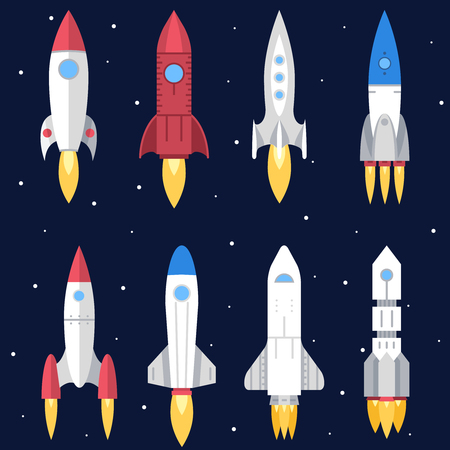 cohetes: Cohete espacial Start Up Launch Símbolo Nuevos Negocios Ilustración Innovación Desarrollo Piso Diseño conjunto de iconos de vectores de plantilla Vectores