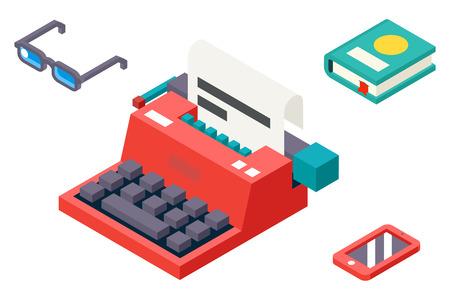 maquina de escribir: 3D isométrico Retro Creatividad Símbolo Máquina de escribir Papel Vintage Hoja Icono Ilustración plana de plantilla de vectores Vectores