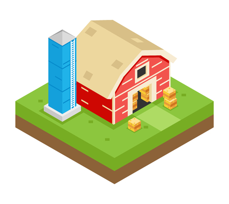silo: Isometric Barn Stack Storage Silo 3d Icon Symbol Meadow Background Flat Vector Illustration