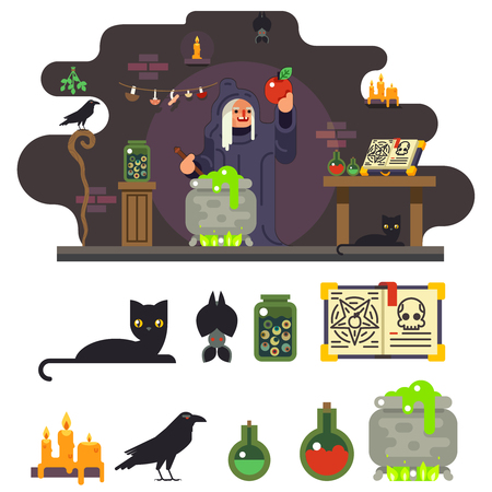 hag: Witch cook magical sweet apple laboratory icon set background flat design vector illustration