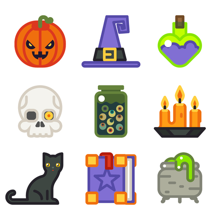 spell: Witch magic halloween icon set isolated flat design line art vector illustration