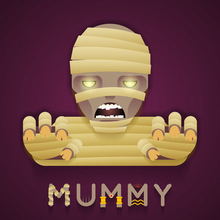 bust: Halloween Party Mummy Role Character Bust Icon Stylish Background Flat Design Greeting Card Vector Illustration