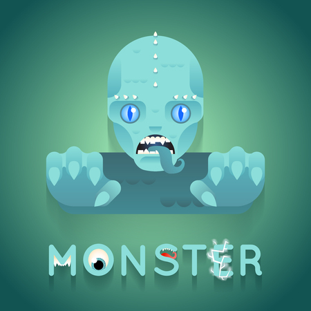 sea monster: Halloween Party Sea Monster Role Character Bust Icon Stylish Background Flat Design Greeting Card Vector Illustration