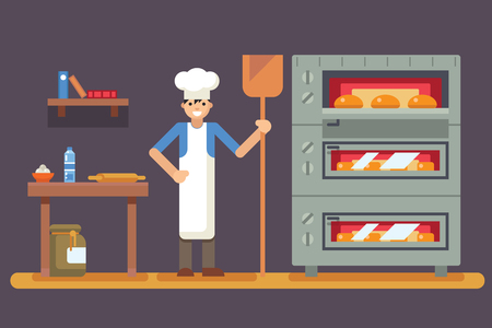 bread maker: Cook baker cooking bread icon bakery background  flat design vector illustration