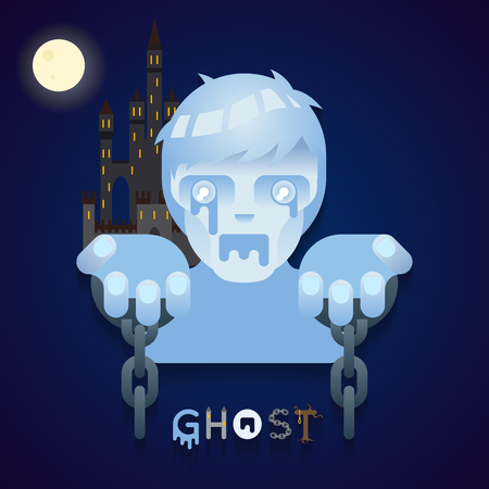 cursed: Halloween Party Ghost Role Character Bust Icon Stylish Background Flat Design Greeting Card Template Vector Illustration Illustration