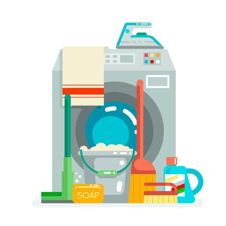 Waschreinigungskonzept liefert Symbol flaches Design Vektor-Illustration