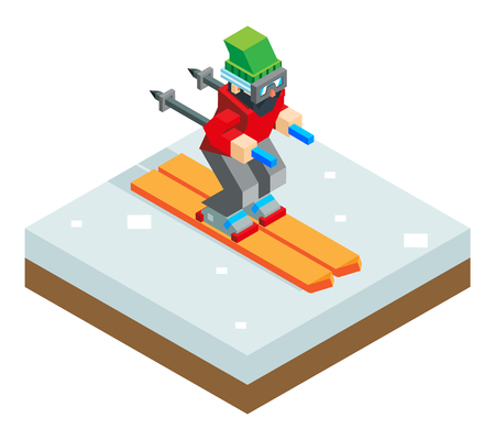 ski: Ski resort holidays skier Isometric 3d Icon symbol snow background flat vector illustration