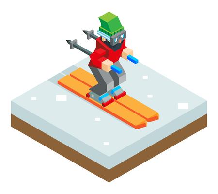ski jump: Ski resort holidays skier Isometric 3d Icon symbol snow background flat vector illustration