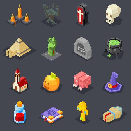 3d vampire: Halloween Icons Set Pumpkin Witch Hat Cauldron Grave Zombie Hand Elixir Skull Vampire Coffin Pyramid Sarcophagus Ankh Church Cursed Tree Flat Isometric 3d Vector Illustration