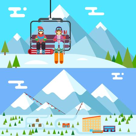SKI: Ski resort holidays skier snowboarder go up mountain funicular flat design vector illustration Illustration