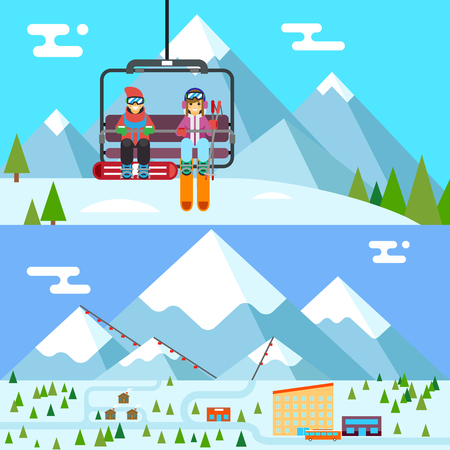 Ski resort holidays skier snowboarder go up mountain funicular flat design vector illustration Illustration