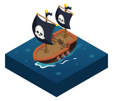 pirate skull: Barco pirata isom�trica s�mbolo del icono 3d de mar de fondo ilustraci�n vectorial plana