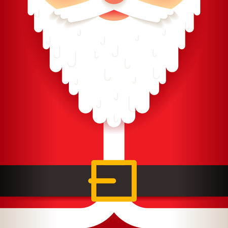red christmas background: Santa Claus beard belt greating card flat design vector illustration