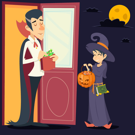guest house: Vintage Happy Smiling Male Vampire Female Witch Halloween Symbol Lifesyle Icon Stylish Door Background Retro Cartoon Design Vector Illustration