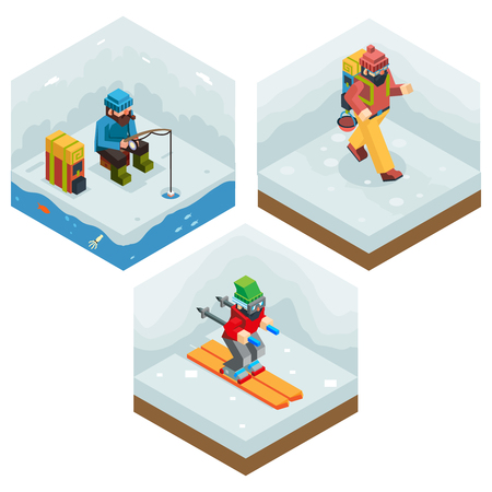 ice fishing: Winter Activity Vacation Icons Set Journey Ski Ice Fishing Flat Isometric 3d Vector Illustration Illustration