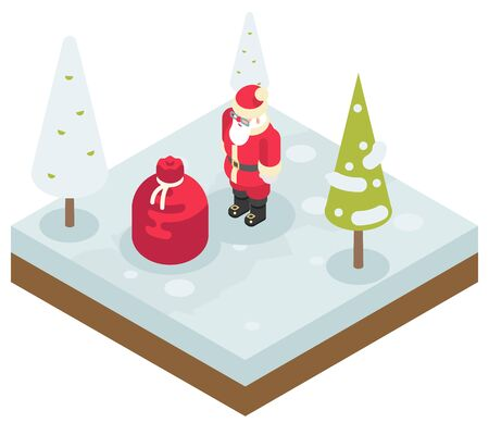 st  nick: Santa Claus Grandfather Frost Bag Gifts New Year Christmas Isometric Flat Design Icon Template Vector Illustration Illustration
