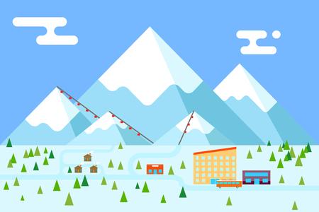 montagna: Mountain village hotel negozio di autobus vacanza sciistica funicolare design piatto illustrazione vettoriale Vettoriali
