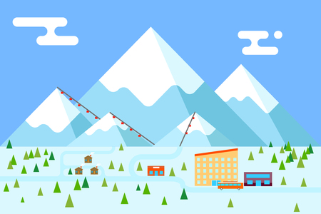 mountain holidays: Mountain village hotel ski resort holiday bus shop funicular flat design vector illustration