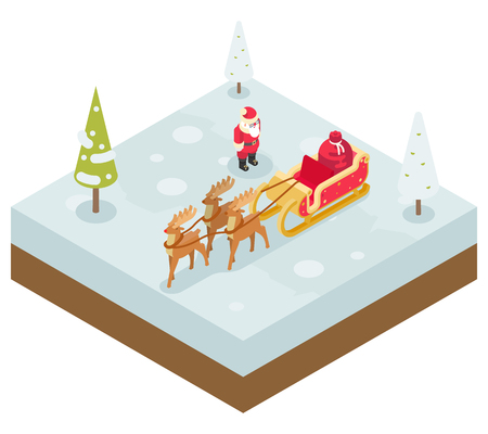Santa Claus Grandfather Frost  Sleigh Reindeer Gifts New Year Christmas Isometric Flat Design Icon Template Vector Illustration Illustration