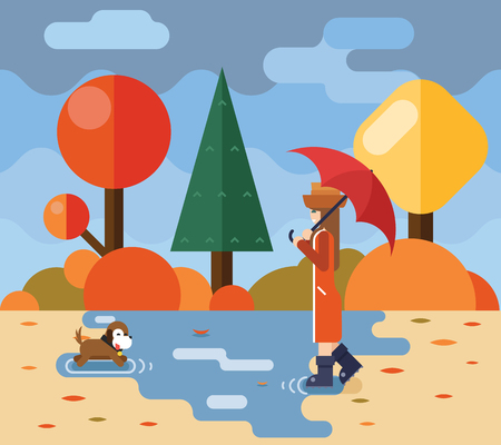 storm: Autumn walk dog puddles umbrella nature park concept flat design landscape background template vector illustration