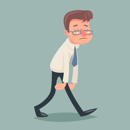 weary: Vintage Businessman Walk Sad Tired Weary Character Icon Stylish Background Retro Cartoon Design Vector Illustration Illustration